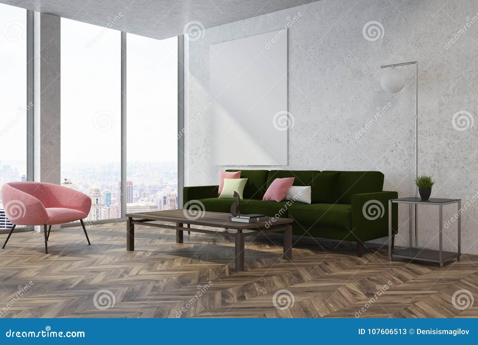 White Living Room Corner, Pink Armchair Stock Illustration ...