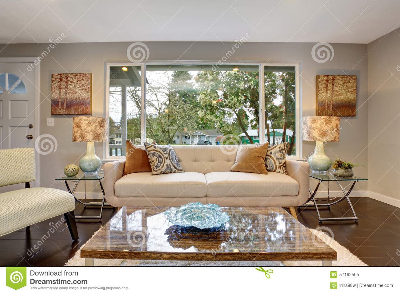 modern living room with dark hardwood floor stock image