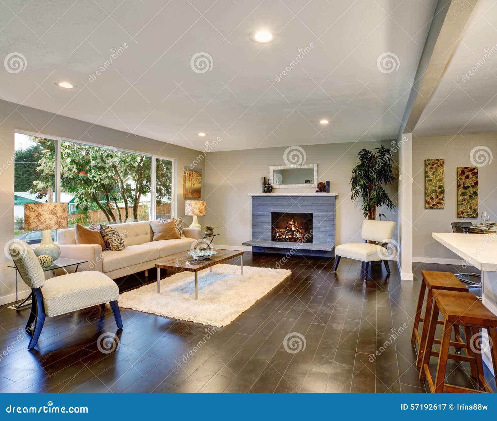 Modern Living Room With Dark Hardwood Floor Stock Image Image Of Beautiful Estate 57192617