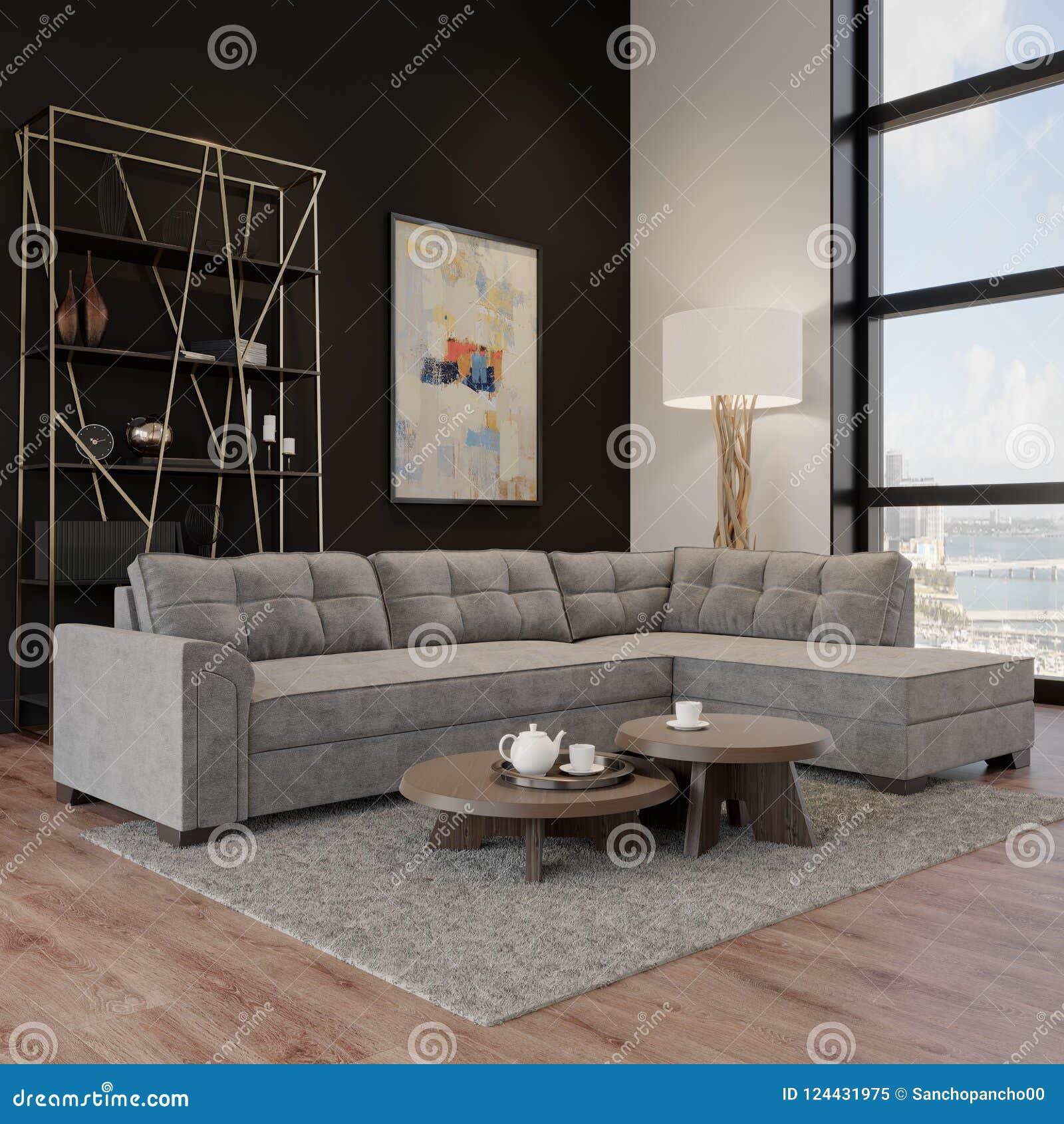 Modern Living Room Design With Panoramic Windows Stock Image Image Of Carpet Metal 124431975