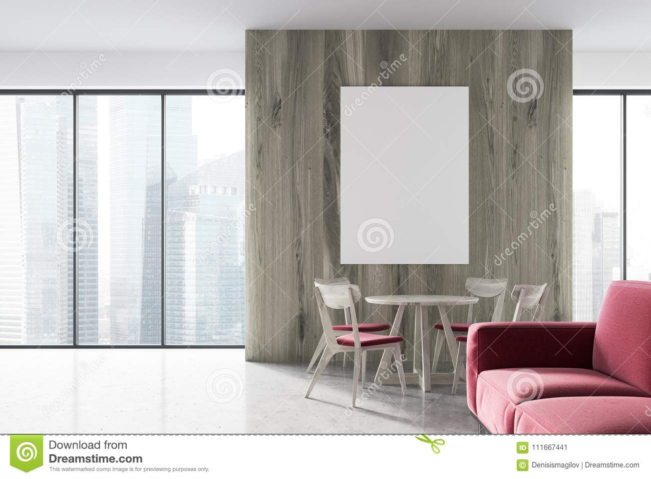 Modern Living Room And Dining Room, Side View Stock Illustration ...