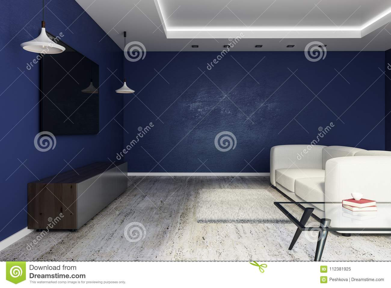 Modern Living Room With Empty Tv Side Stock Illustration Illustration Of Apartment Empty 112381925