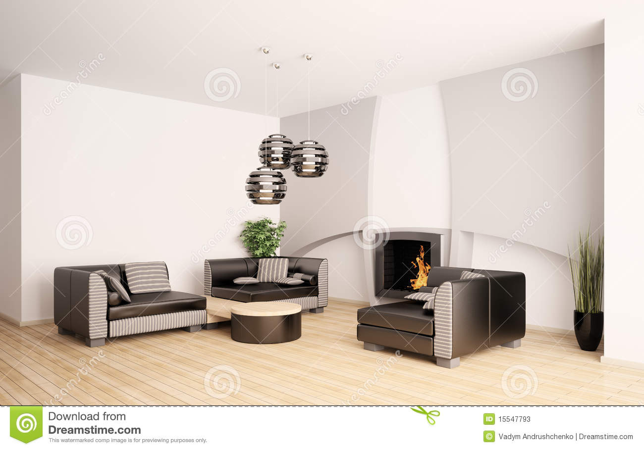 Modern living room with fireplace interior 3d stock Modern living room with fireplace