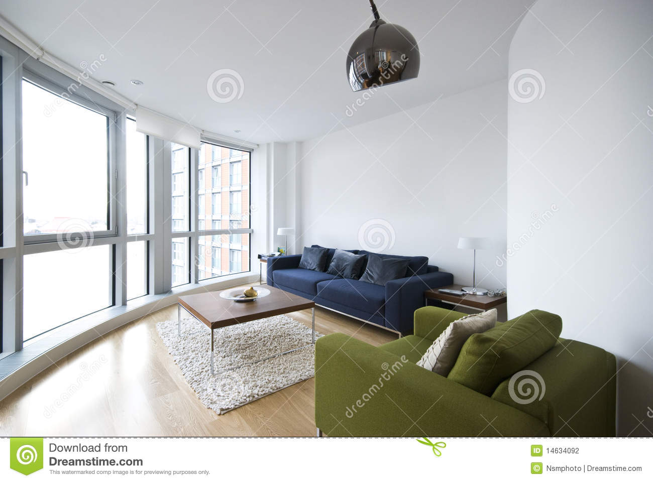 Modern Living Room With Floor To Ceiling Windows Stock
