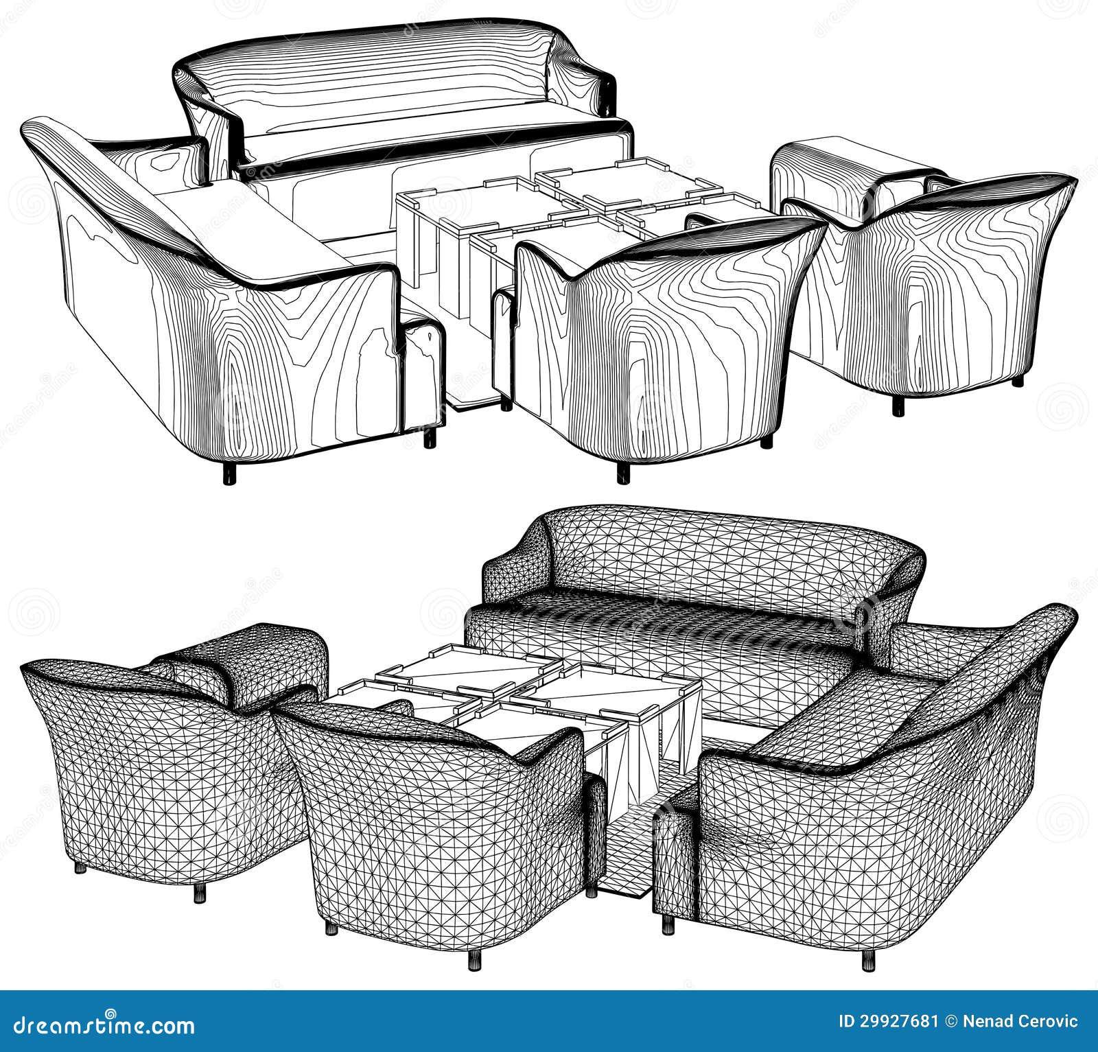 Modern Living Room Furniture Vector 11 Stock Image Image