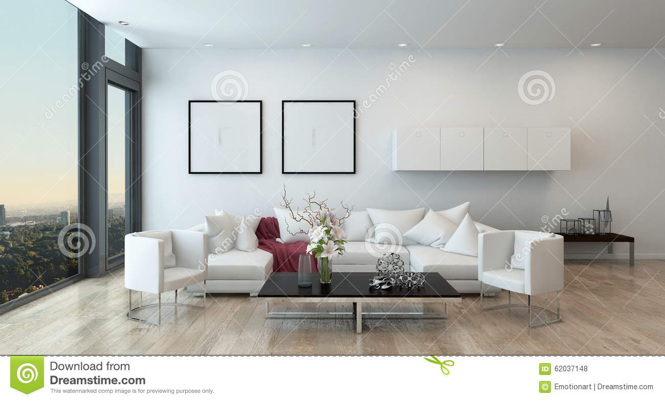 Modern Living Room In High Rise Condominium Stock