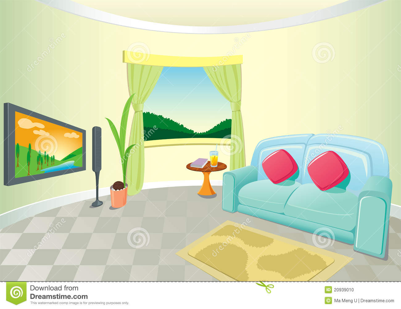 Modern Living Room Interior Stock Vector Image 20939010