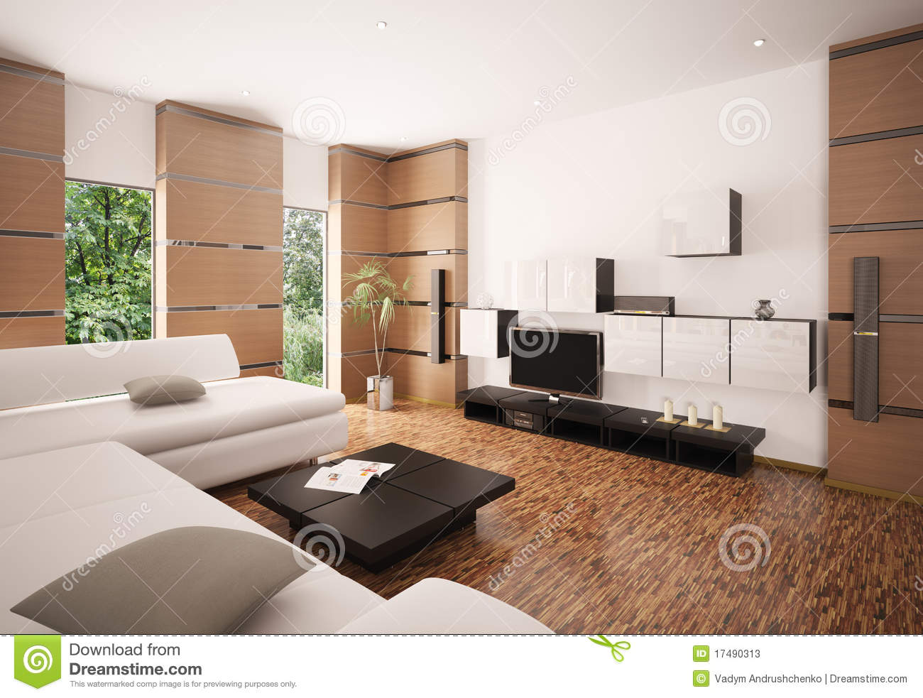 Modern Living Room Interior 3d Render Stock Illustration