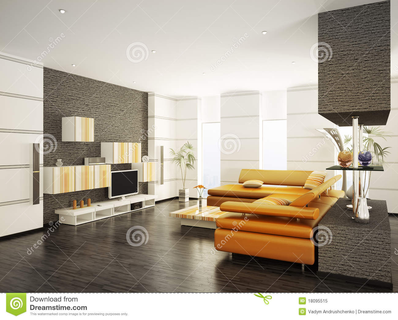 Modern living room interior 3d render royalty free stock for Modern drawing room interior