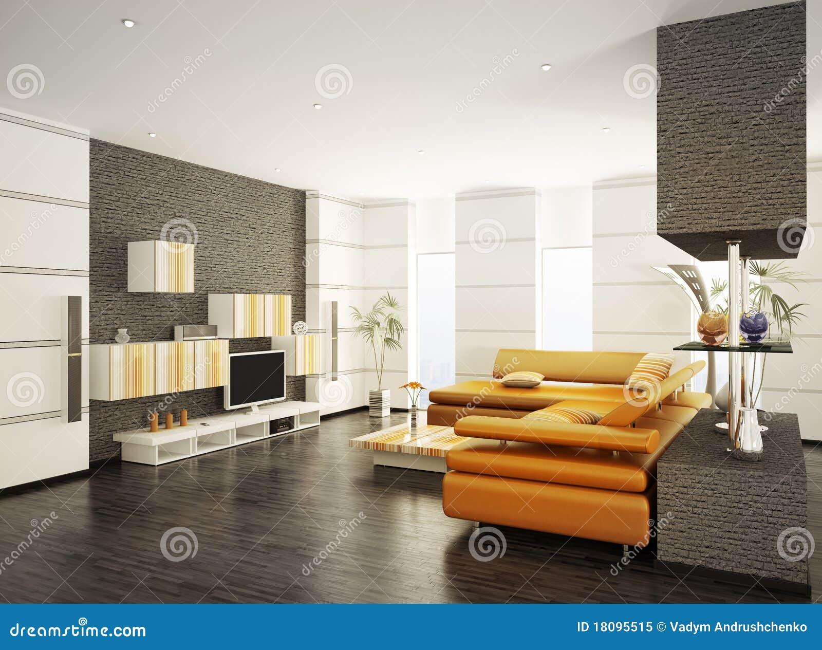 Modern Living Room Interior 3d Render Royalty Free Stock
