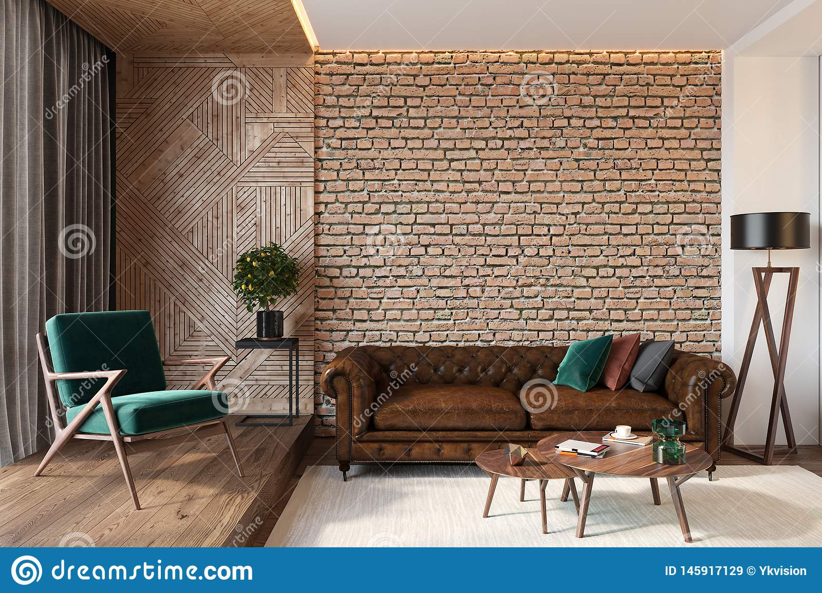 Modern Living Room Interior With Brick Wall Blank Wall