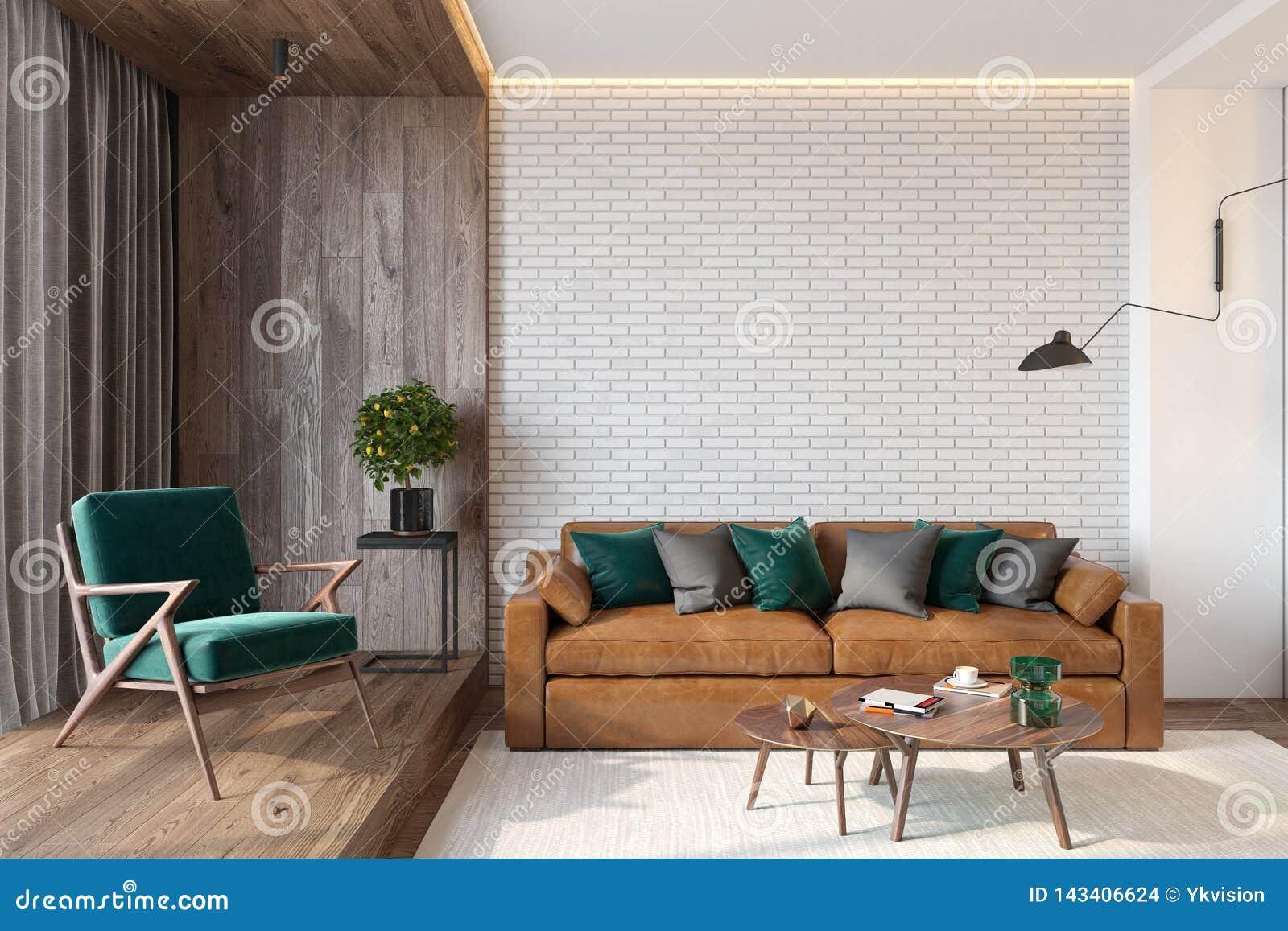 Modern Living Room Interior With Brick Wall Blank Wall Sofa