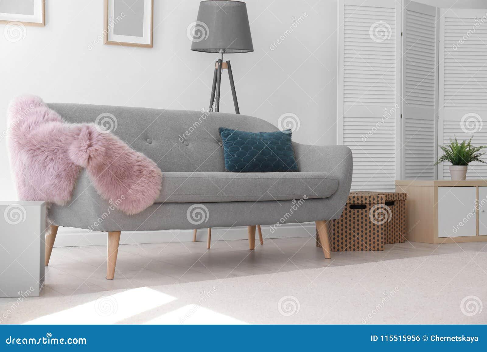 Modern Living Room Interior With Comfortable Sofa Stock Photo