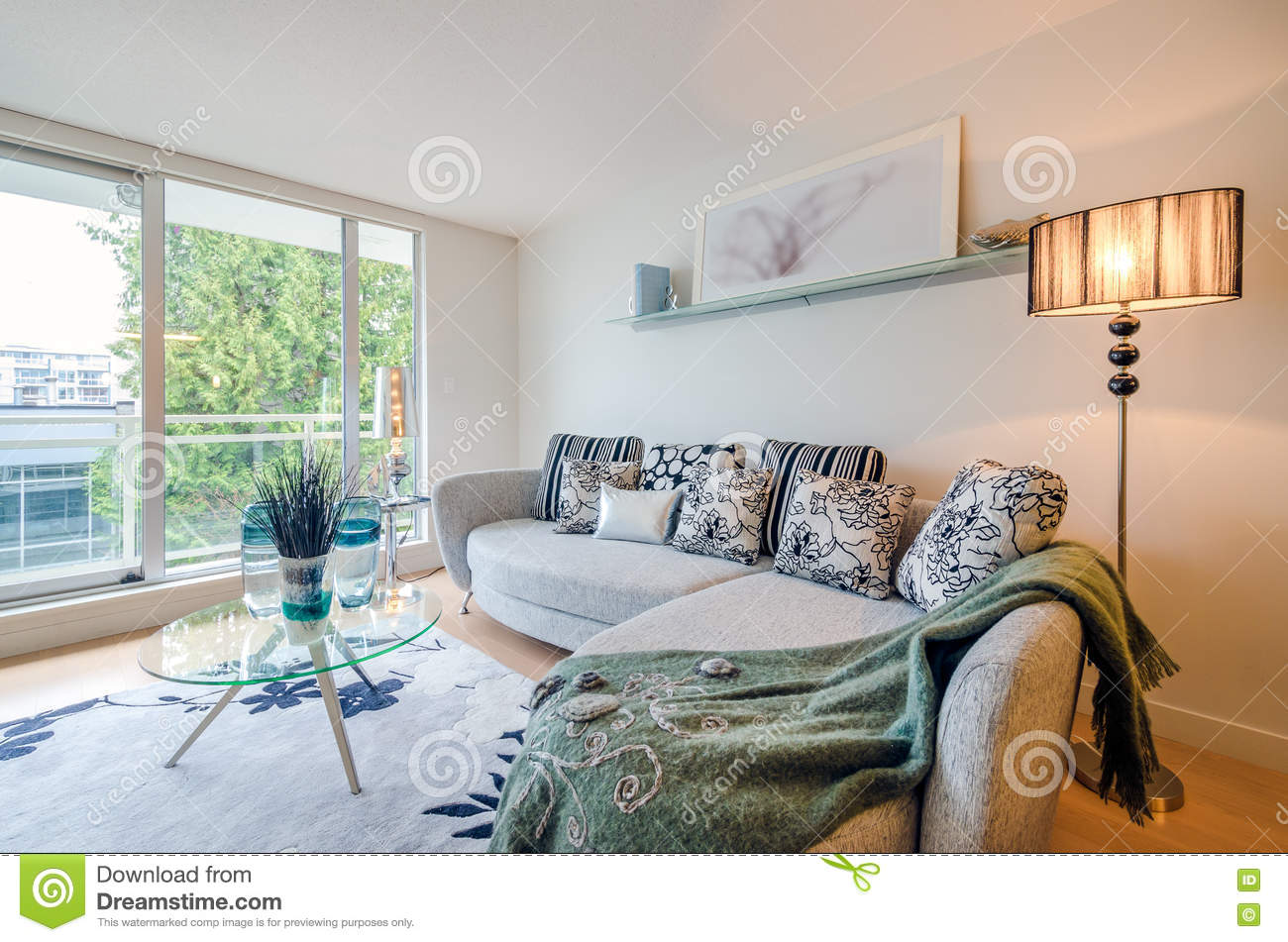 Modern living room interior design stock photo image for Bright house design