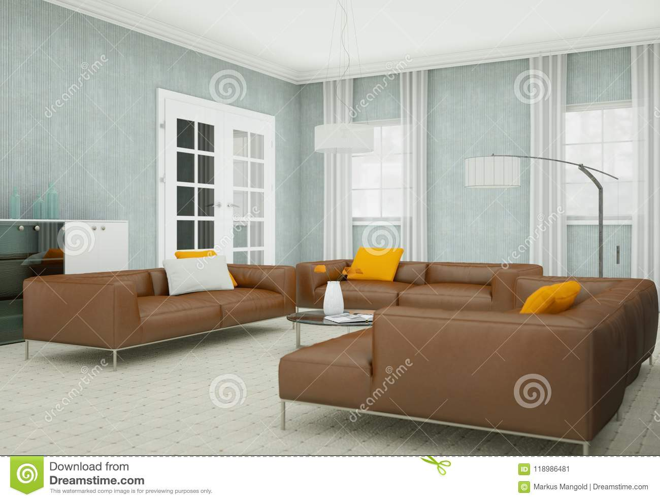 Modern Living Room Interior Design With Brown Leather Sofas ...