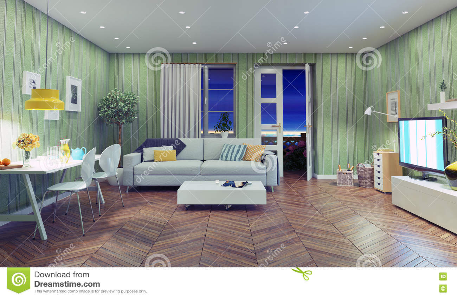Modern Living Room Stock Illustration Image 60324422