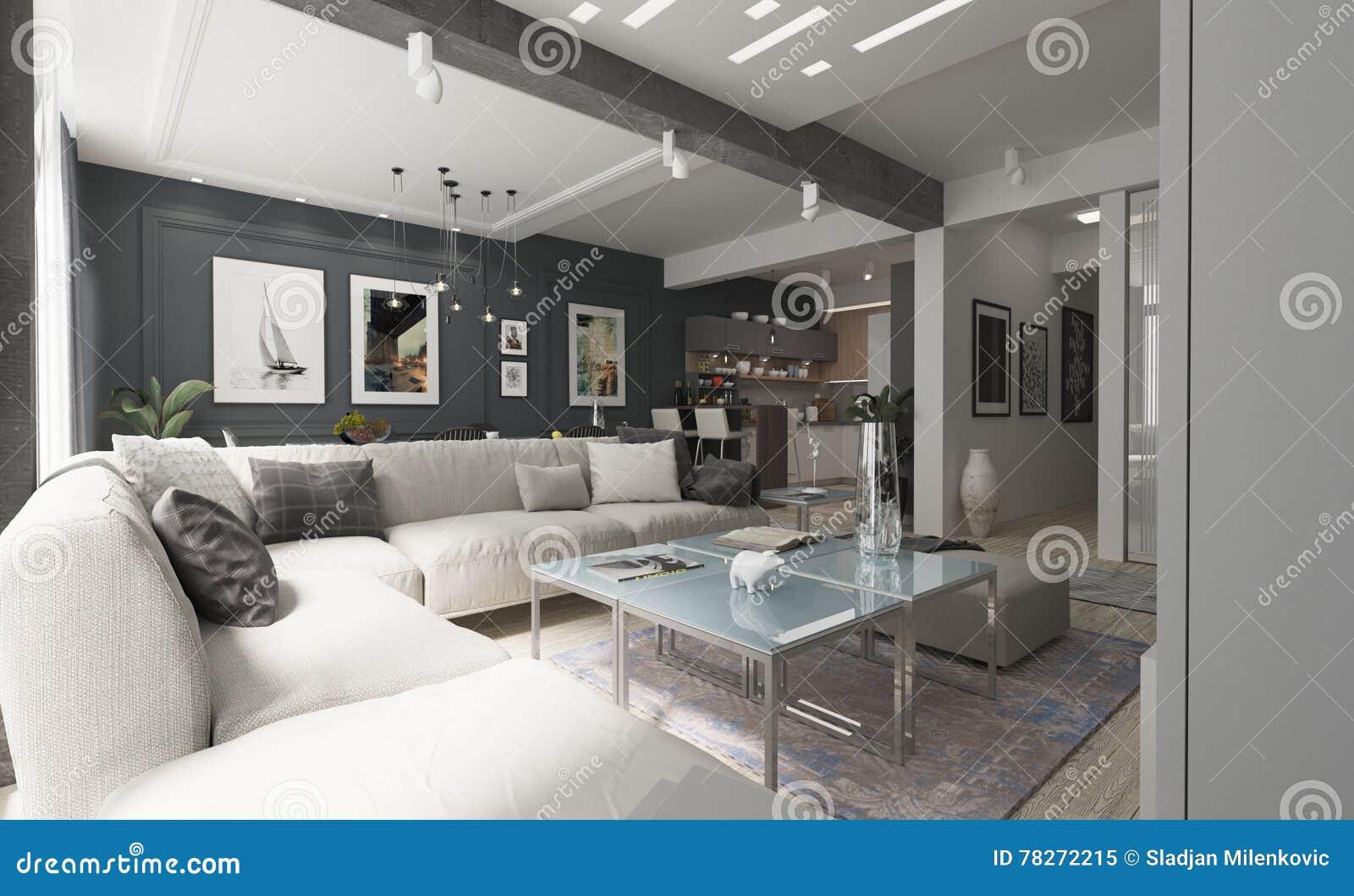 Modern Woonkamer Design : Modern living room interior design with gray walls stock image