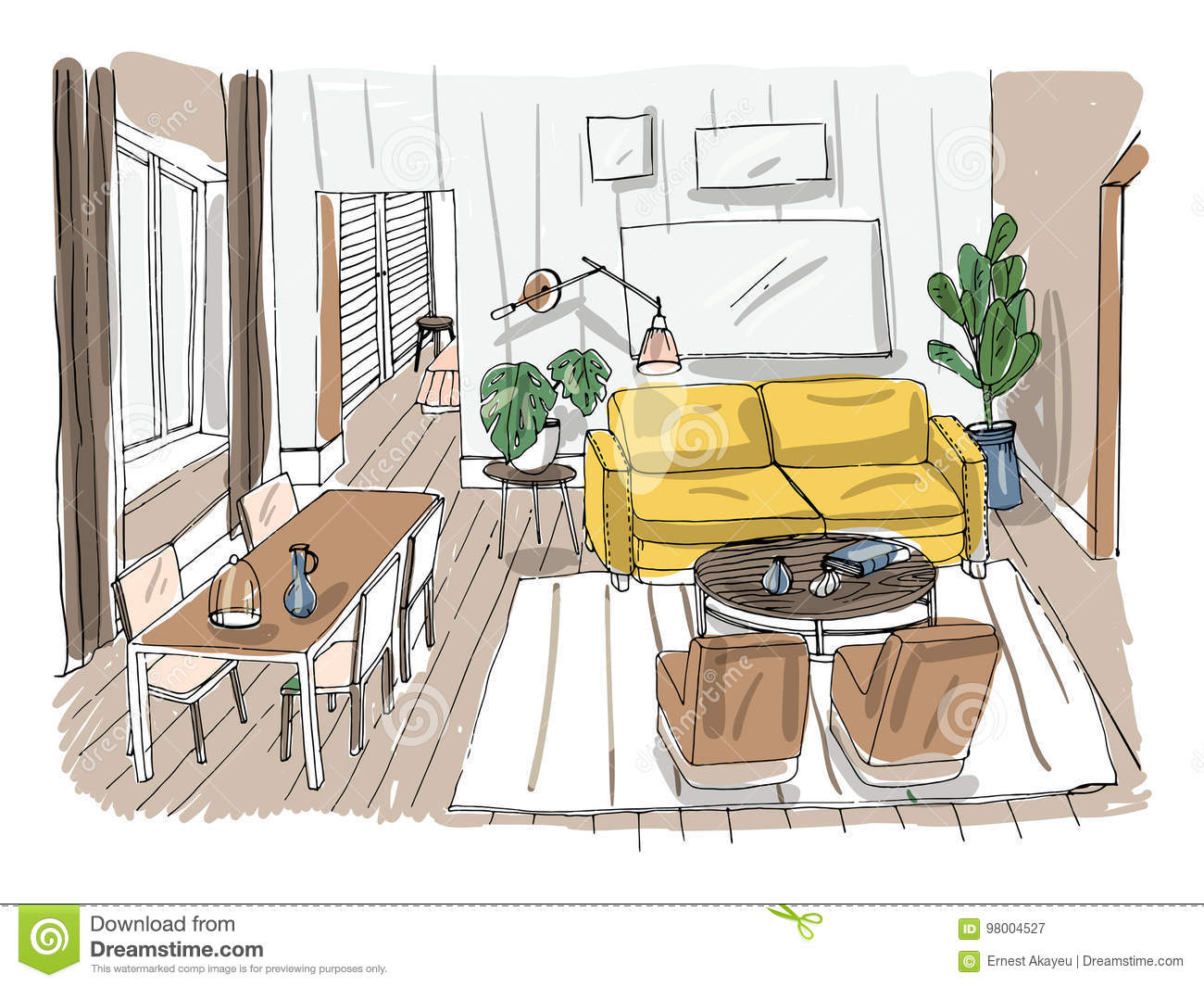 Modern Living Room Interior. Furnished Drawing Room. Colorful Vector ...