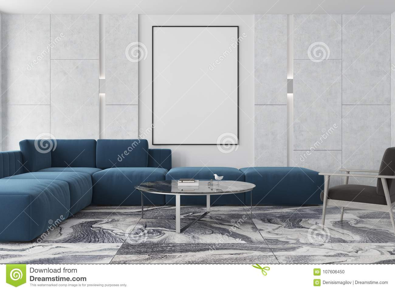 Marble And Brown Living Room Poster Blue Sofa Stock
