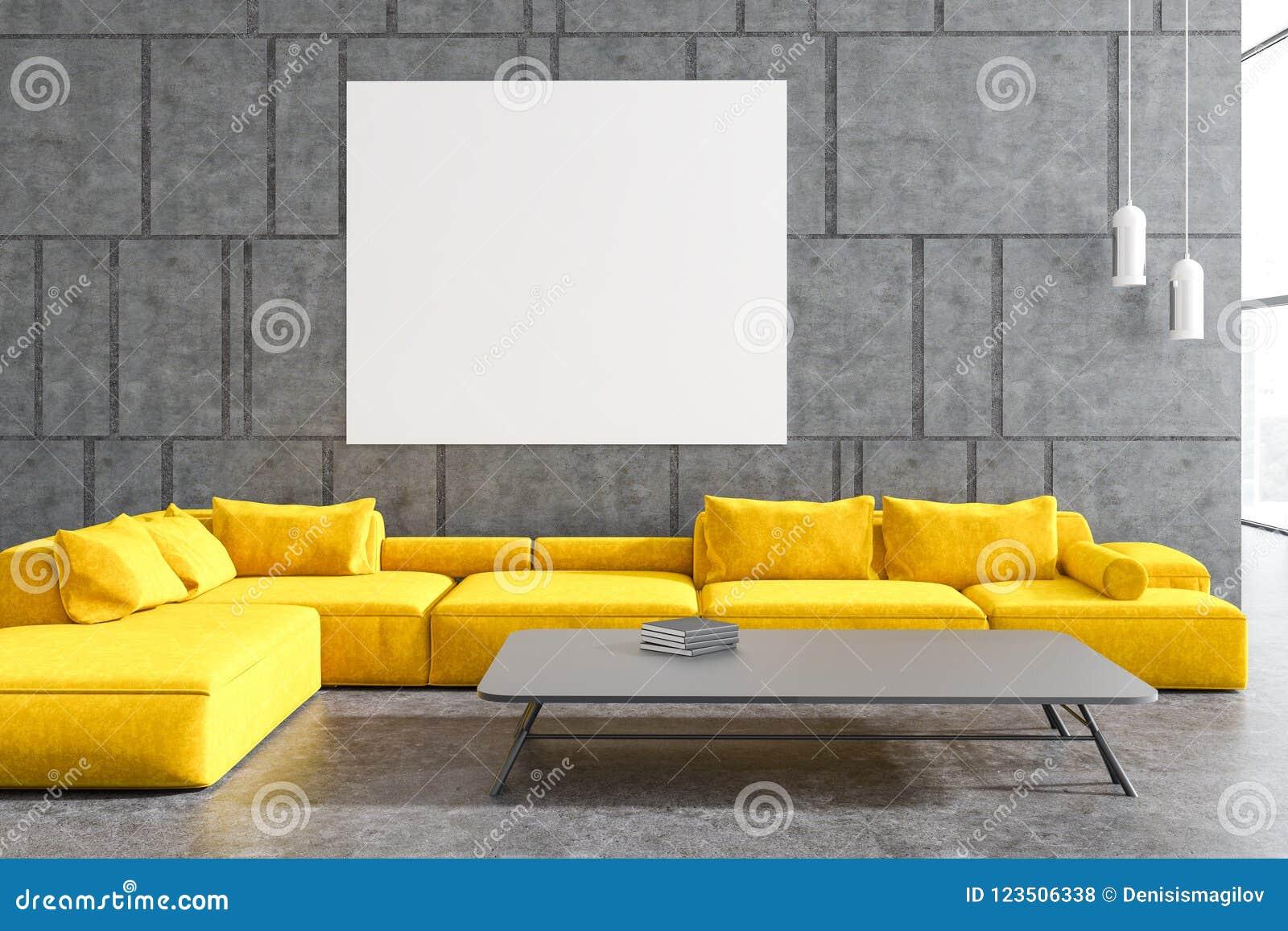 Gray Living Room, Yellow Sofa, Poster Stock Illustration ...