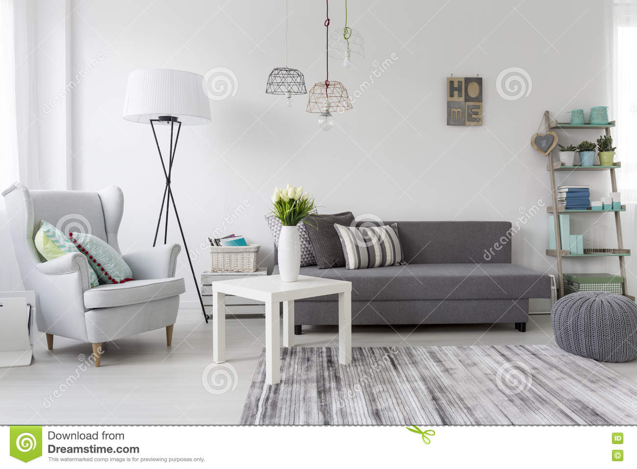 Modern Living Room Interior With A Grey Armchair Stock Photo - Image ...