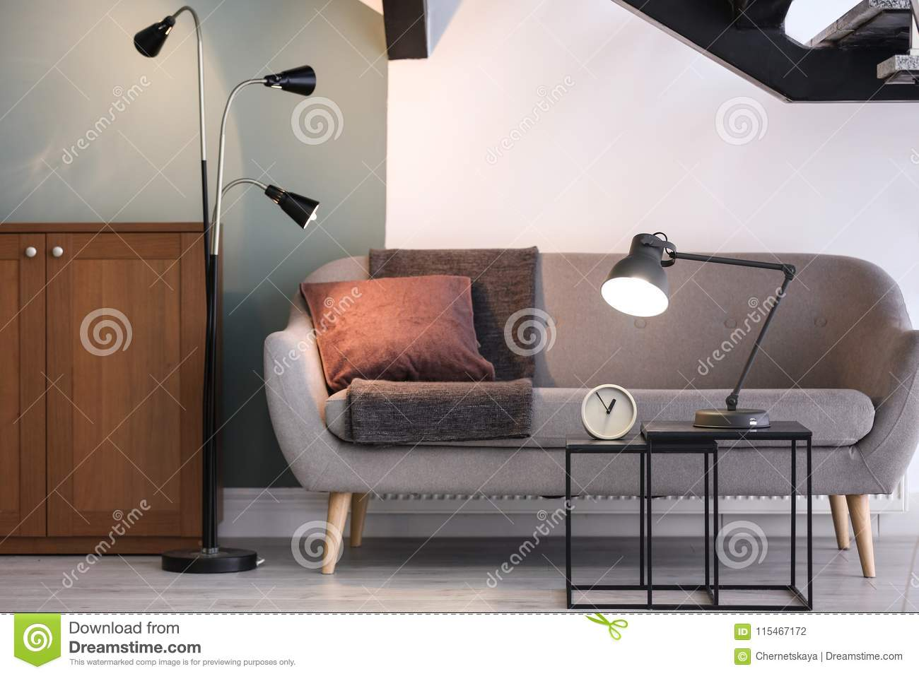 Modern Living Room Interior With Lamps Stock Photo - Image ...
