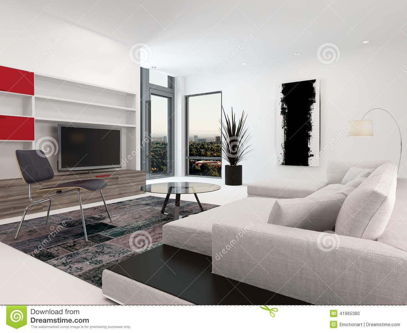 Modern Living Room Interior With A Large TV Stock Illustration ...