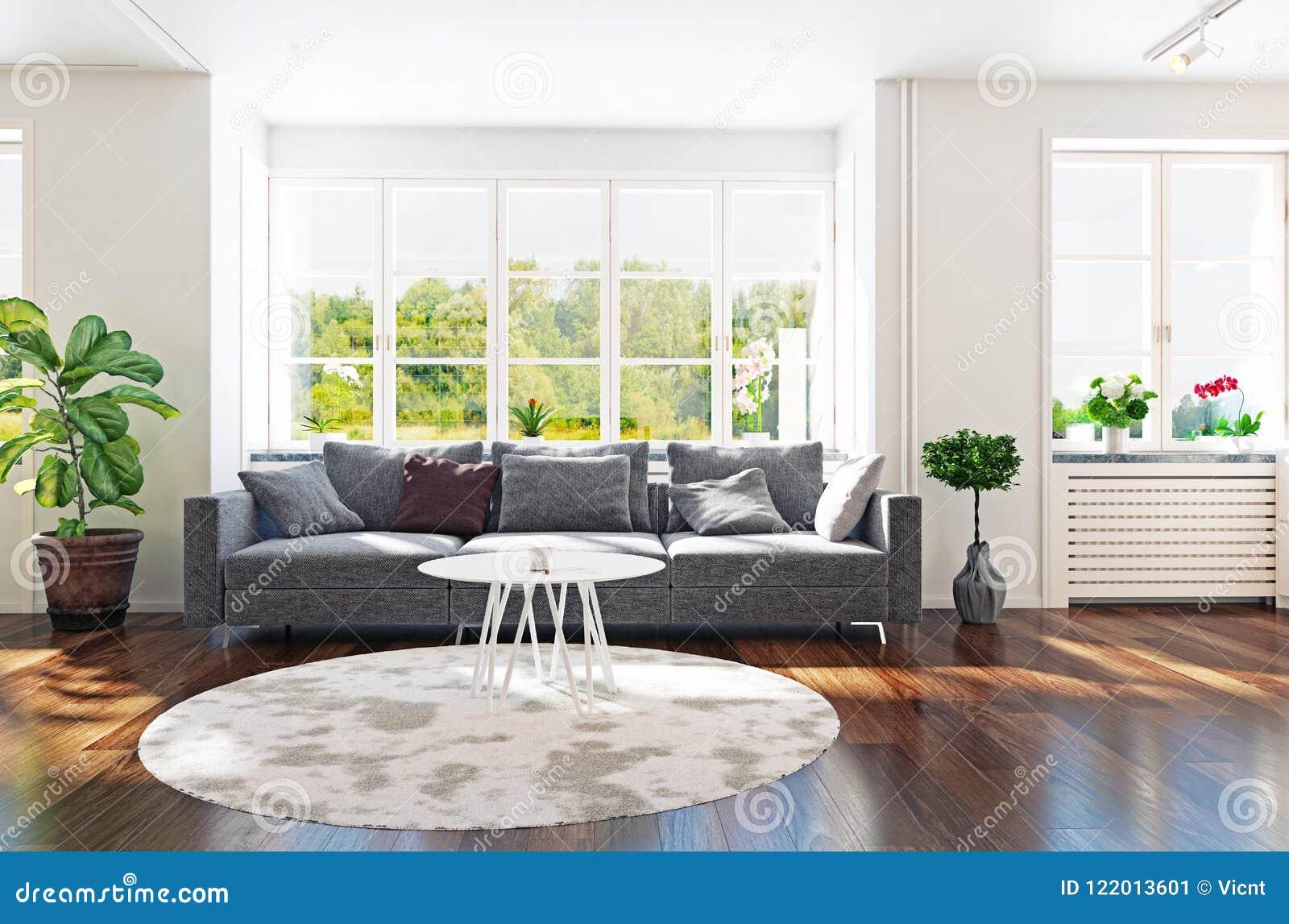 Modern Living Room Interior Stock Illustration - Illustration of ...