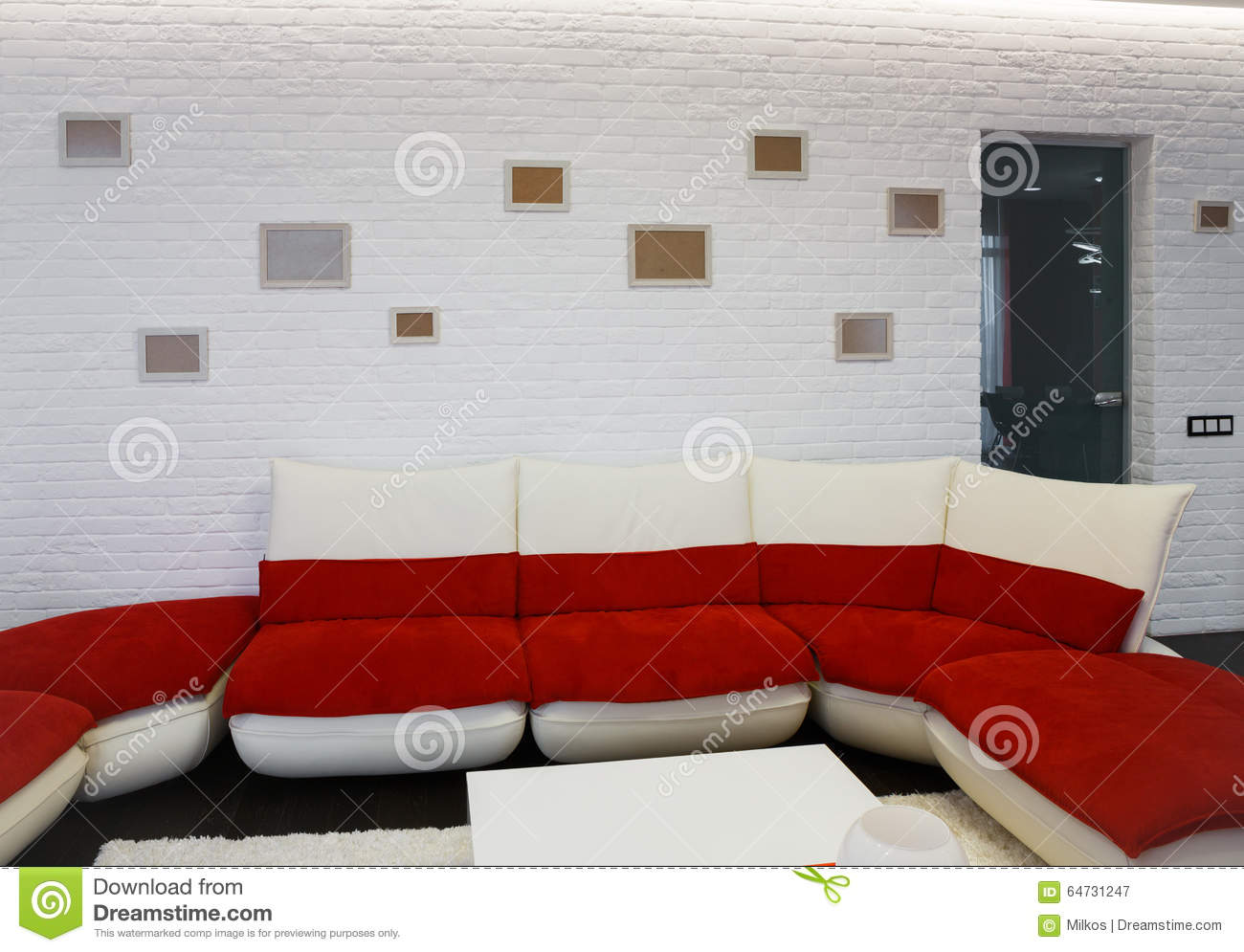 Modern Living Room Interior With Red Sofa Stock Image - Image of ...