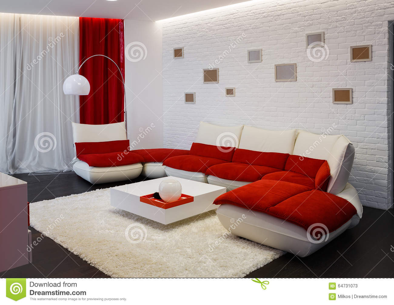 Modern Living Room Interior With Red Sofa Stock Photo
