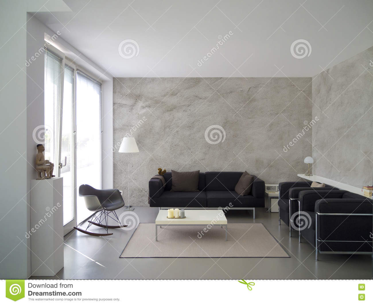 Modern Living Room Space modern living room interior with rough cast wall stock image - image