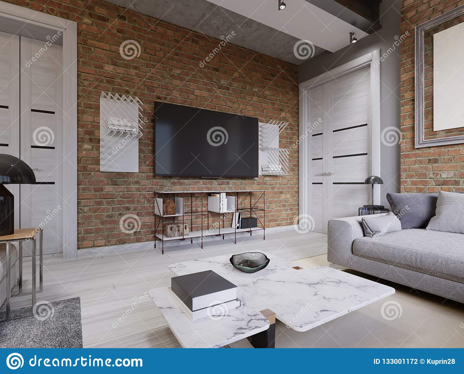 exciting brick wall inside living room | Modern Living Room Interior, Tv Mounted On Brick Wall With ...