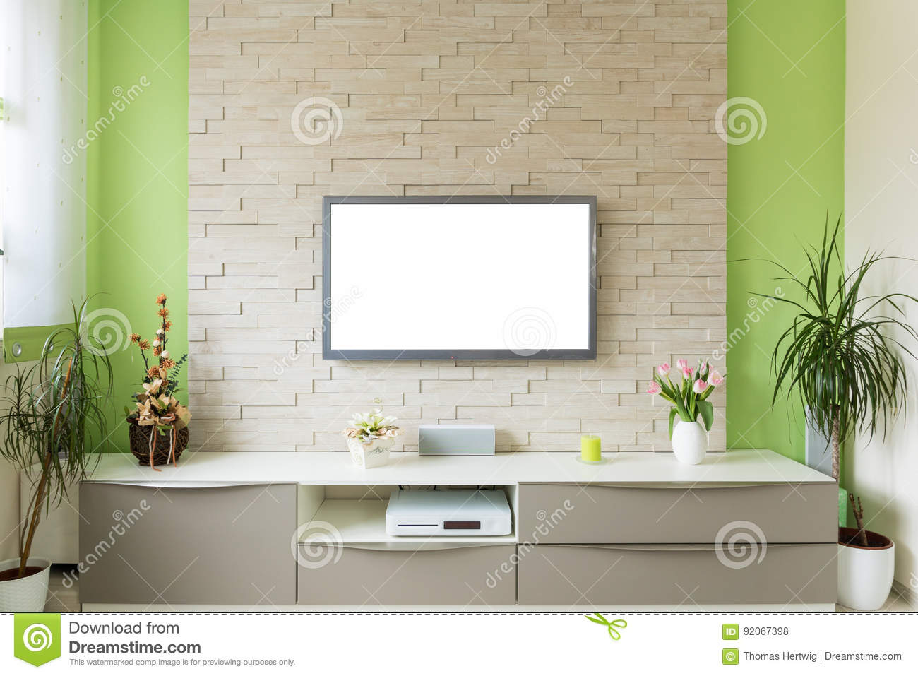 Modern Living Room Interior - Tv Mounted On Brick Wall With White ...