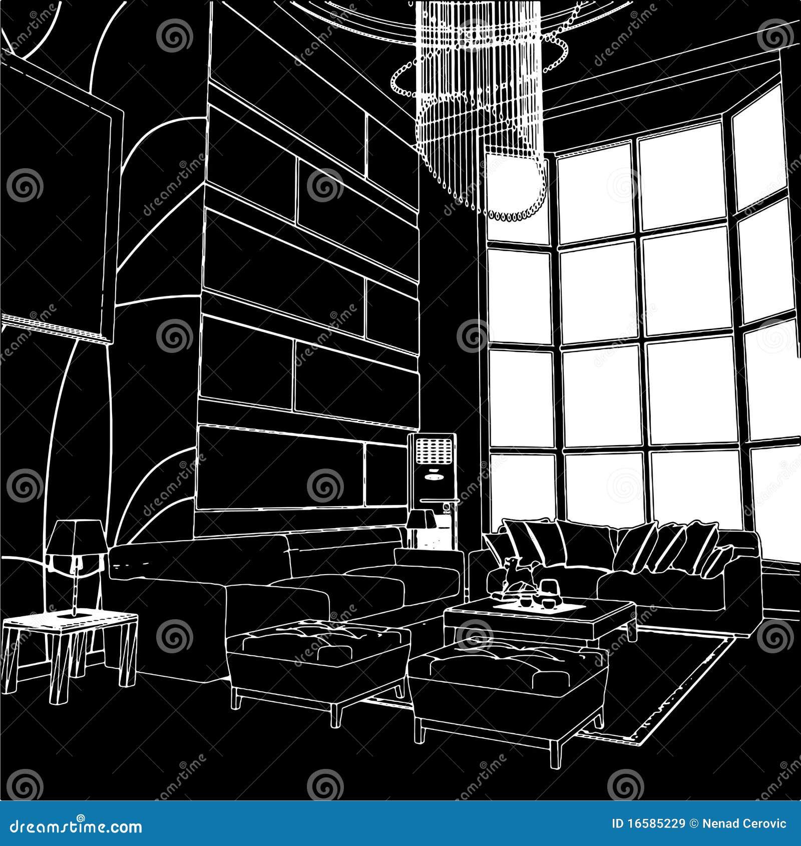 Modern Living Room Interior Vector 01 Royalty Free Stock