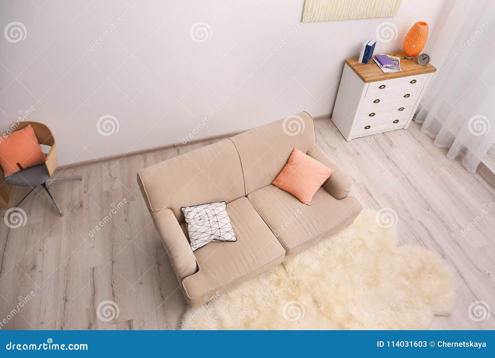 Modern living room interior, view CCTV camera