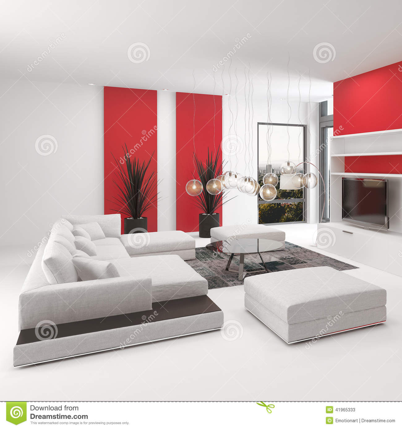 Modern living room interior with vivid red accents stock for Modern living room red