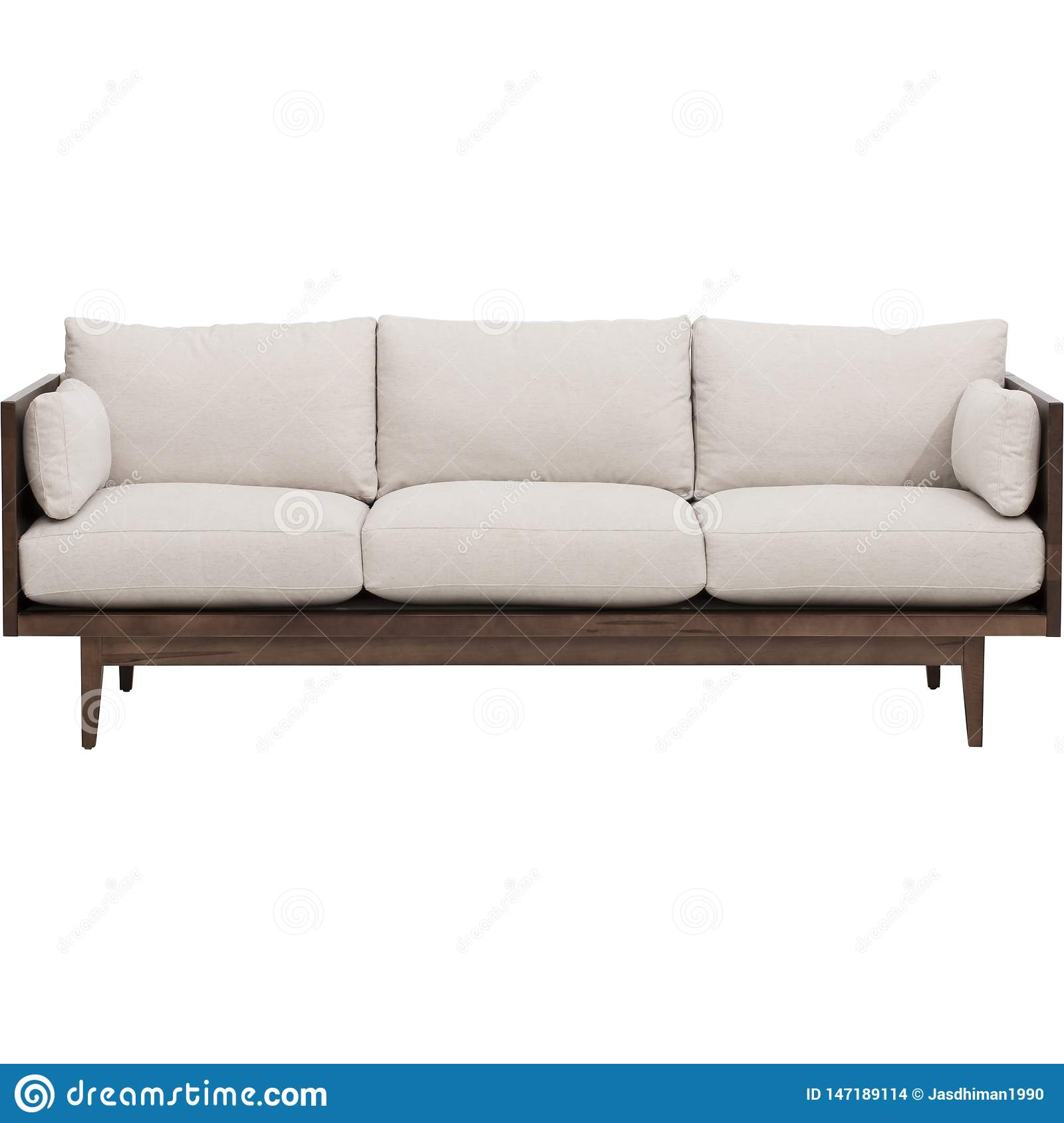Modern living-room interior with white couch near empty beige wall. - Stock image