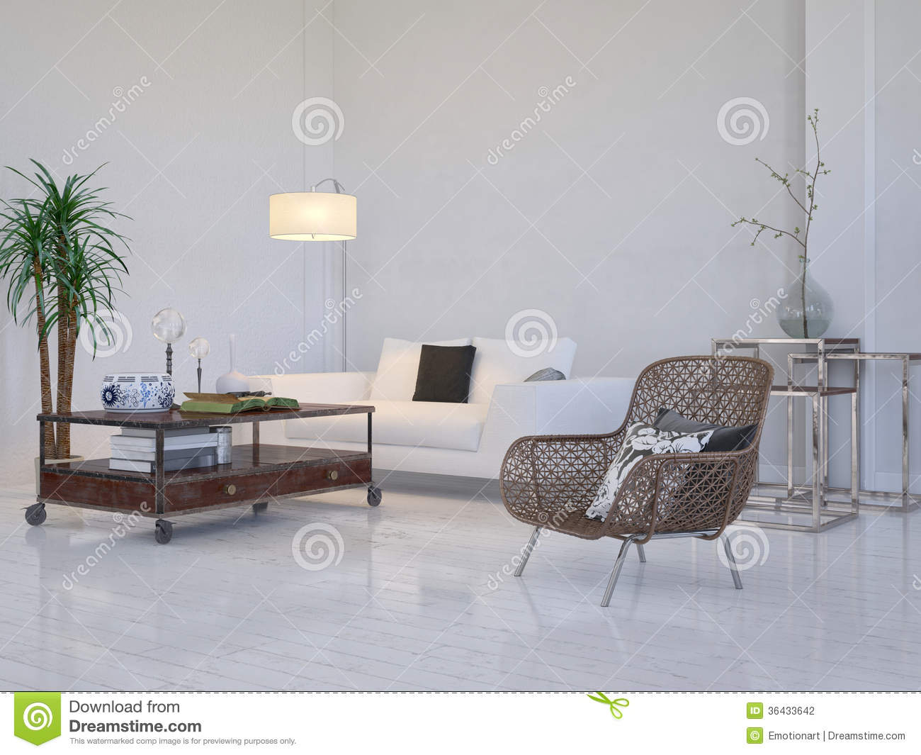 Modern living room interior with white couch and plant for Modern living room plants