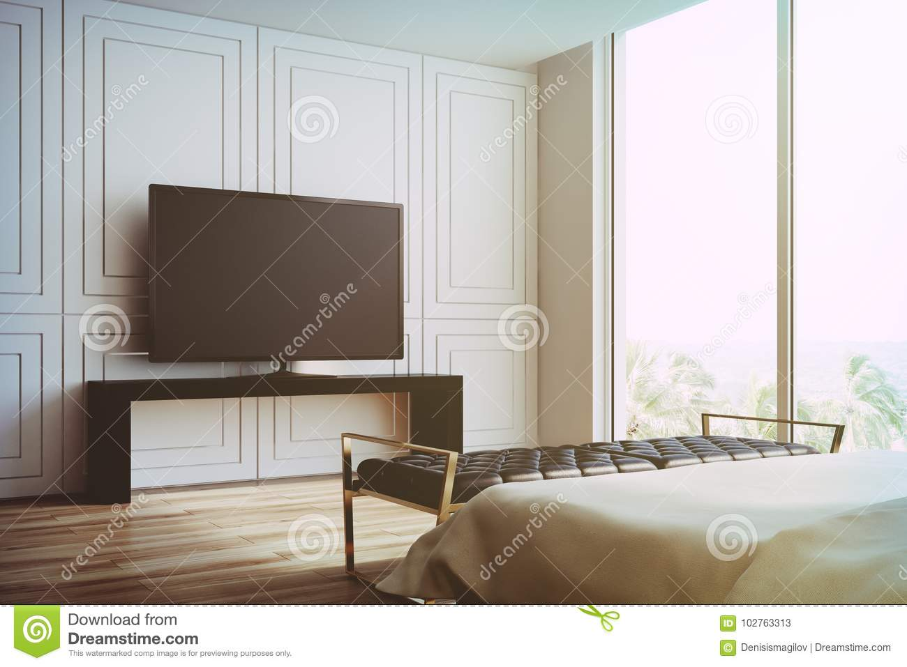 White Living Room, TV Set Side View Toned Stock Illustration ...