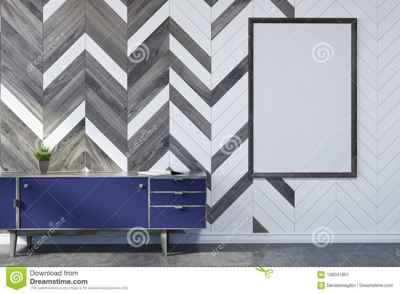 White And Wooden Living Room, Poster, Closet Stock