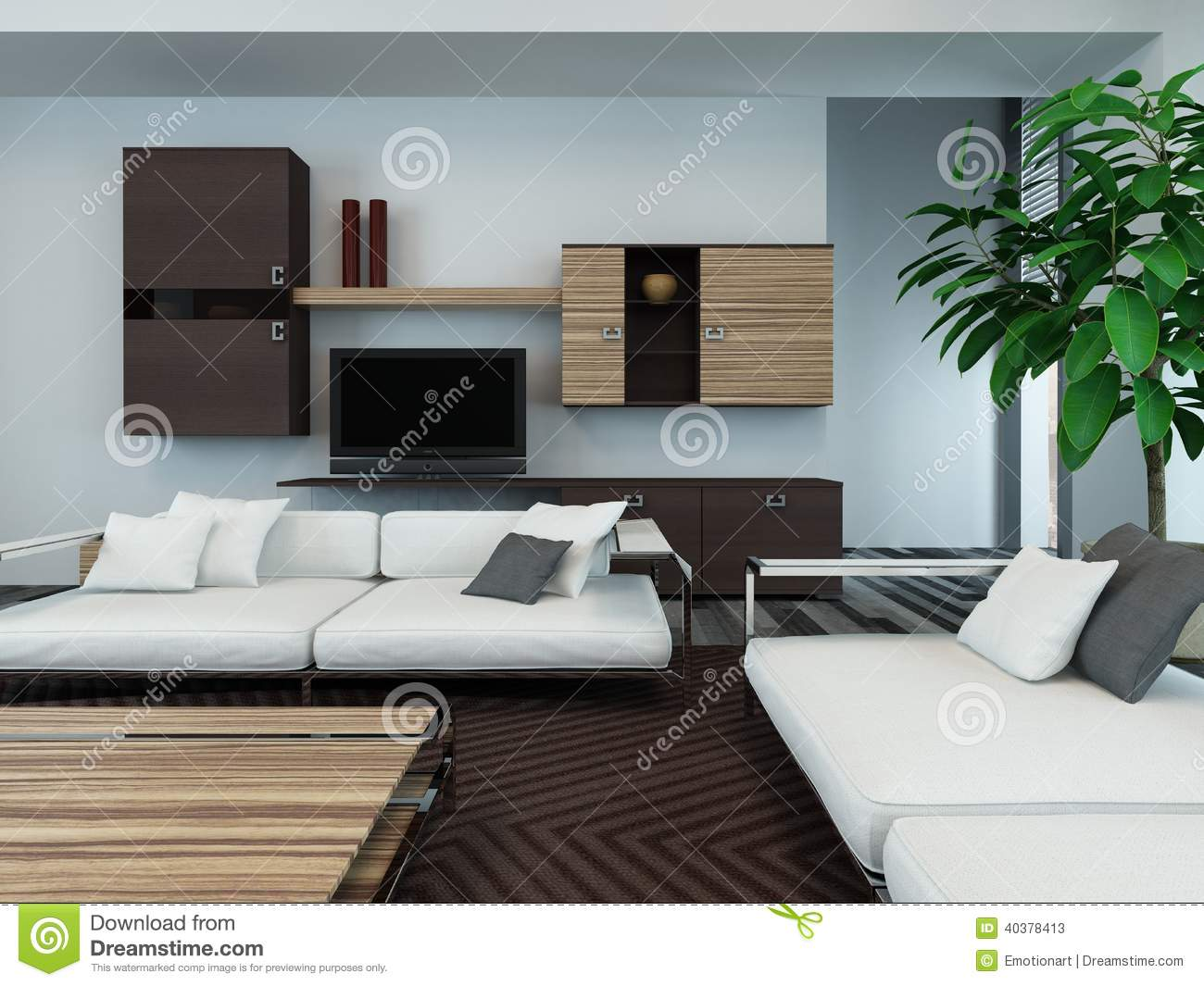 Superb img of Modern Living Room Interior With Wooden Cabinets Stock Photo Image  with #306B31 color and 1300x1065 pixels