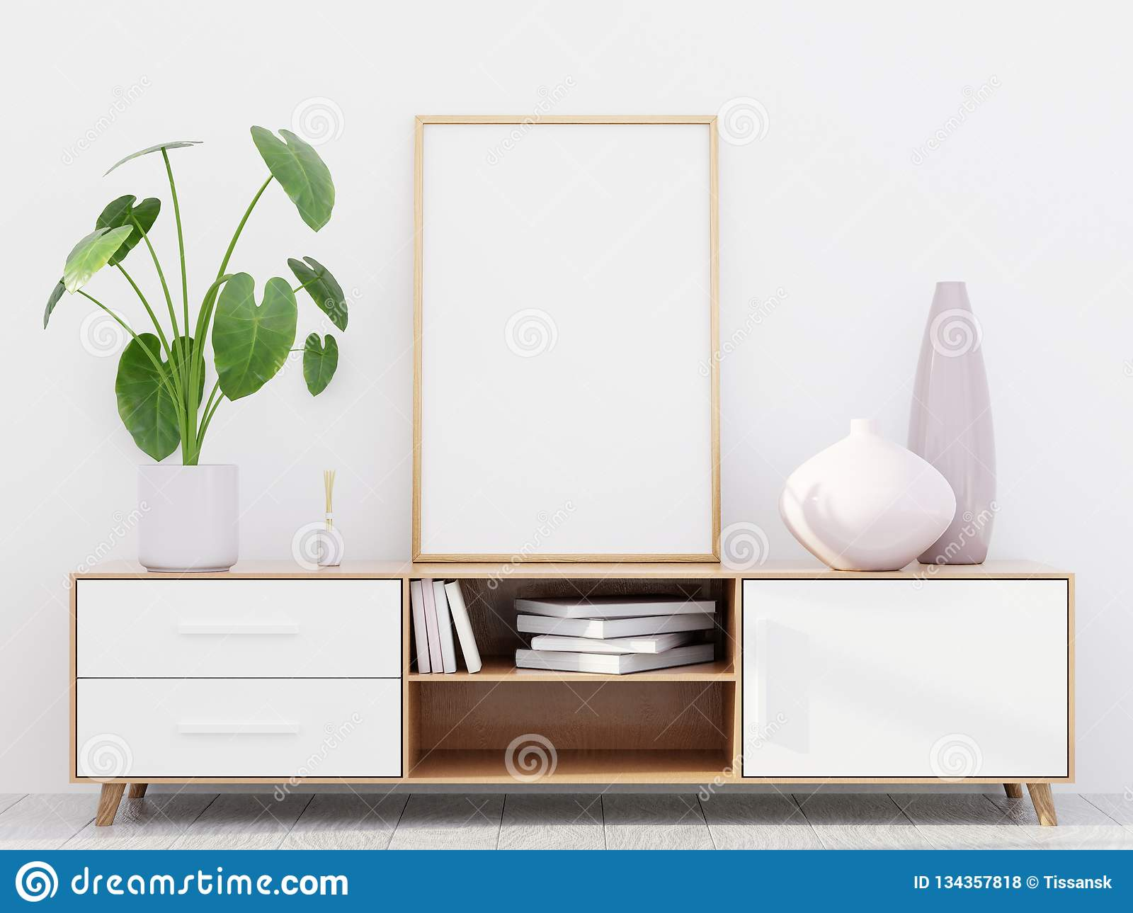 Modern living room interior with a wooden dresser and a poster mockup, 3D render