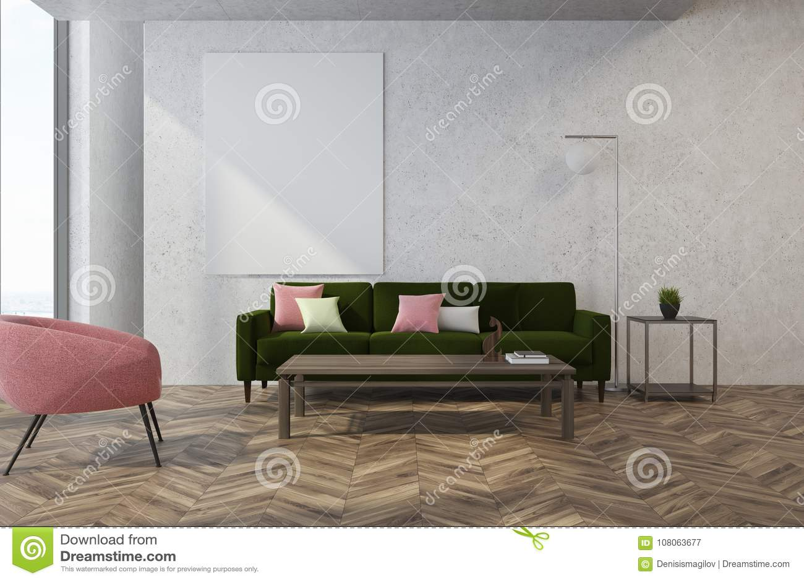 White Living Room, Pink Armchair Stock Illustration - Illustration ...