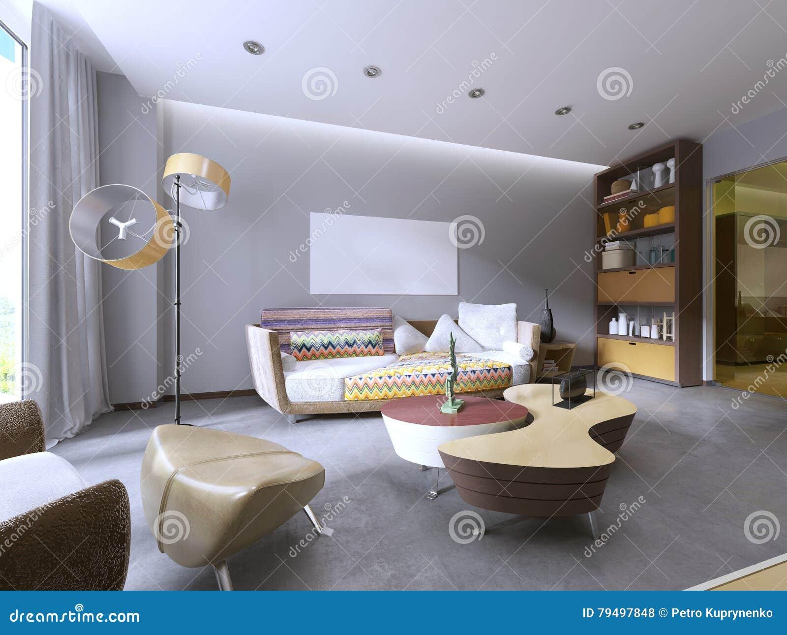 Modern Living Room In Kitsch Style. Stock Illustration