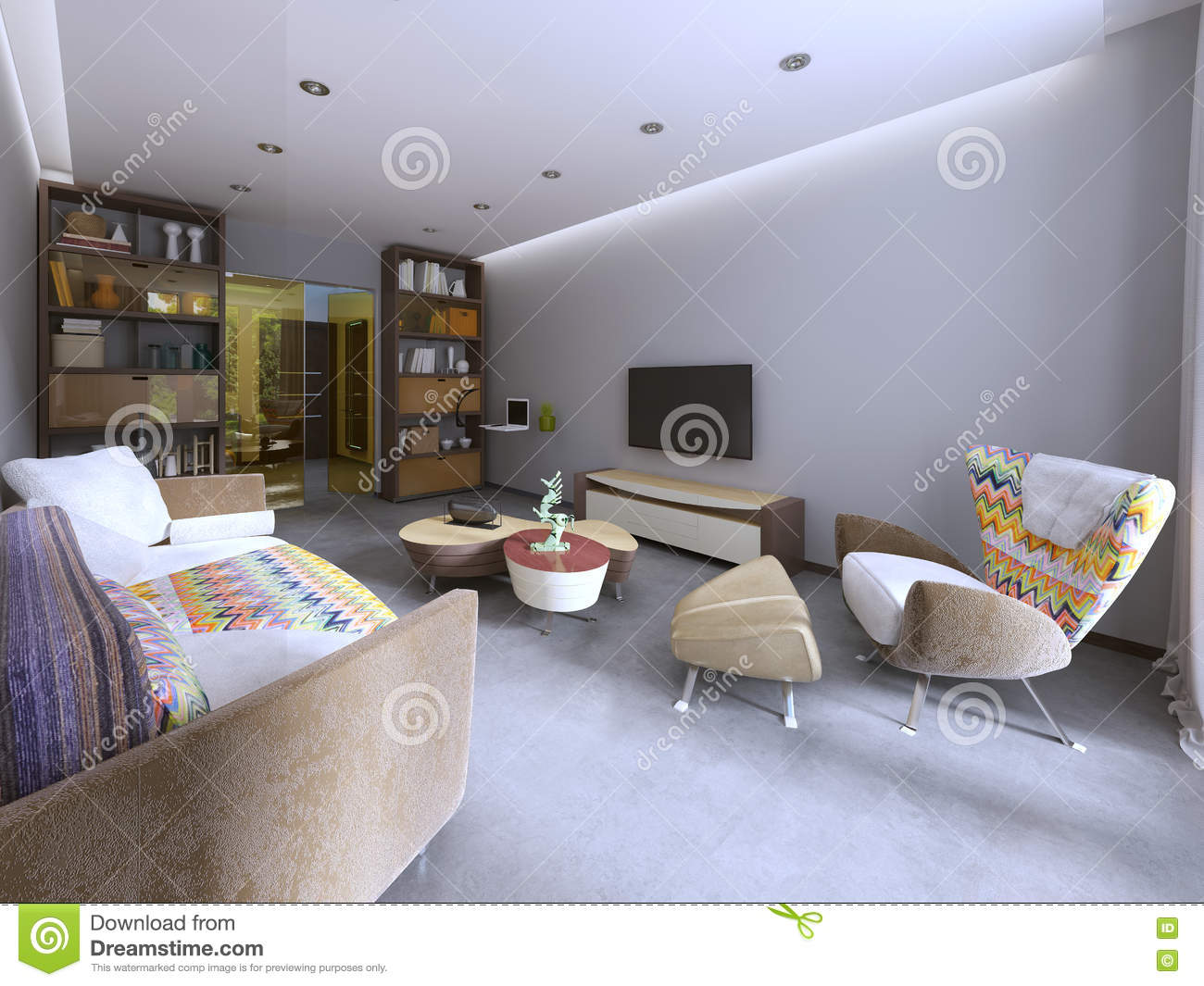Modern living room in kitsch style with tv unit bookcase and work space 3d render