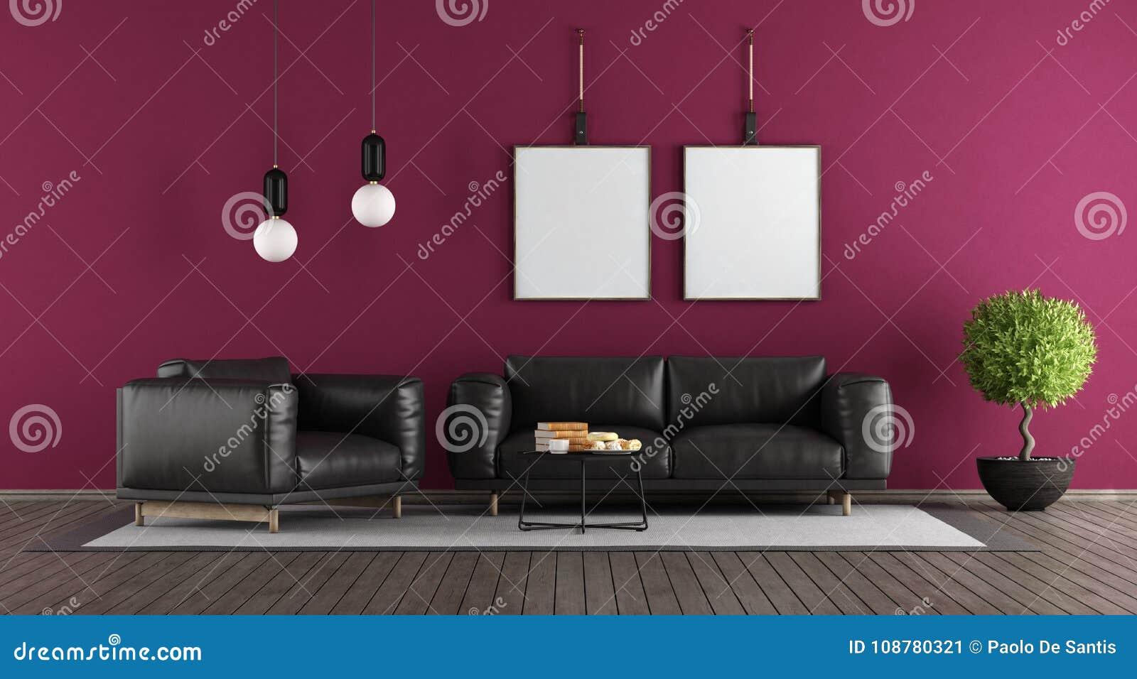 Purple And Black Modern Lounge Stock Illustration ...