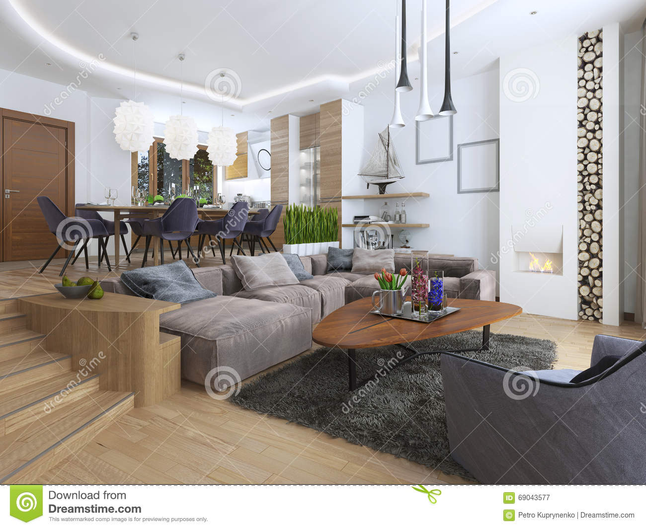 Modern Living Room In A Loft Style, Blending Smoothly Into The Kitchen  Dining Room. Large Corner Sofa, Shelves With Decorations, Soft Chair With A  Floor ...