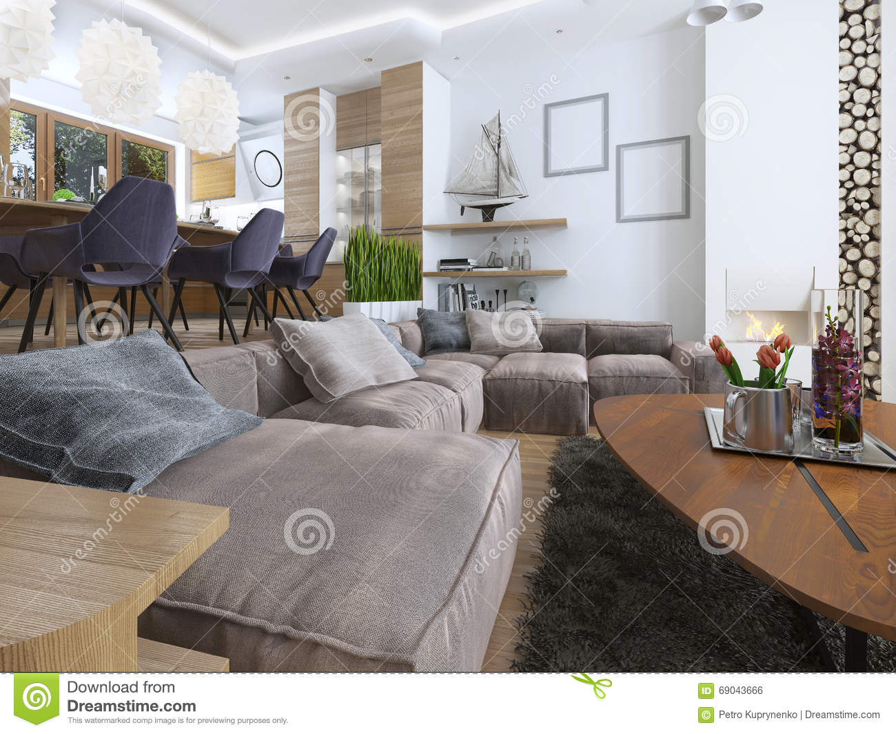 Modern Living Room In A Loft Style Royalty Free Stock Image