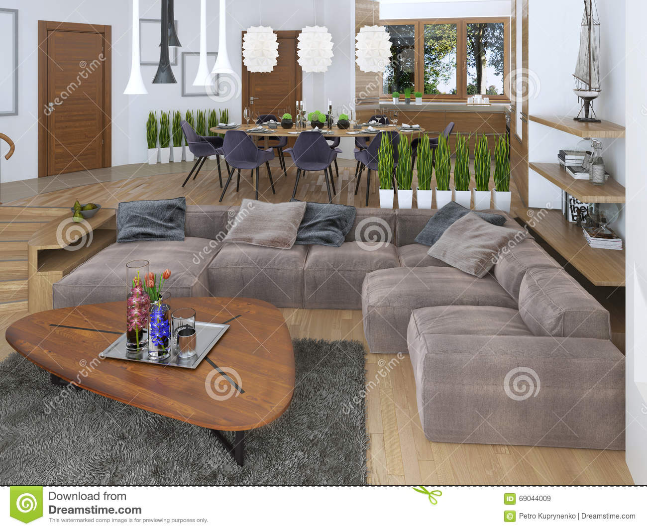 Charmant Modern Living Room In A Loft Style, Blending Smoothly Into The Kitchen  Dining Room. Large Corner Sofa, Shelves With Decorations, Soft Chair With A  Floor ...