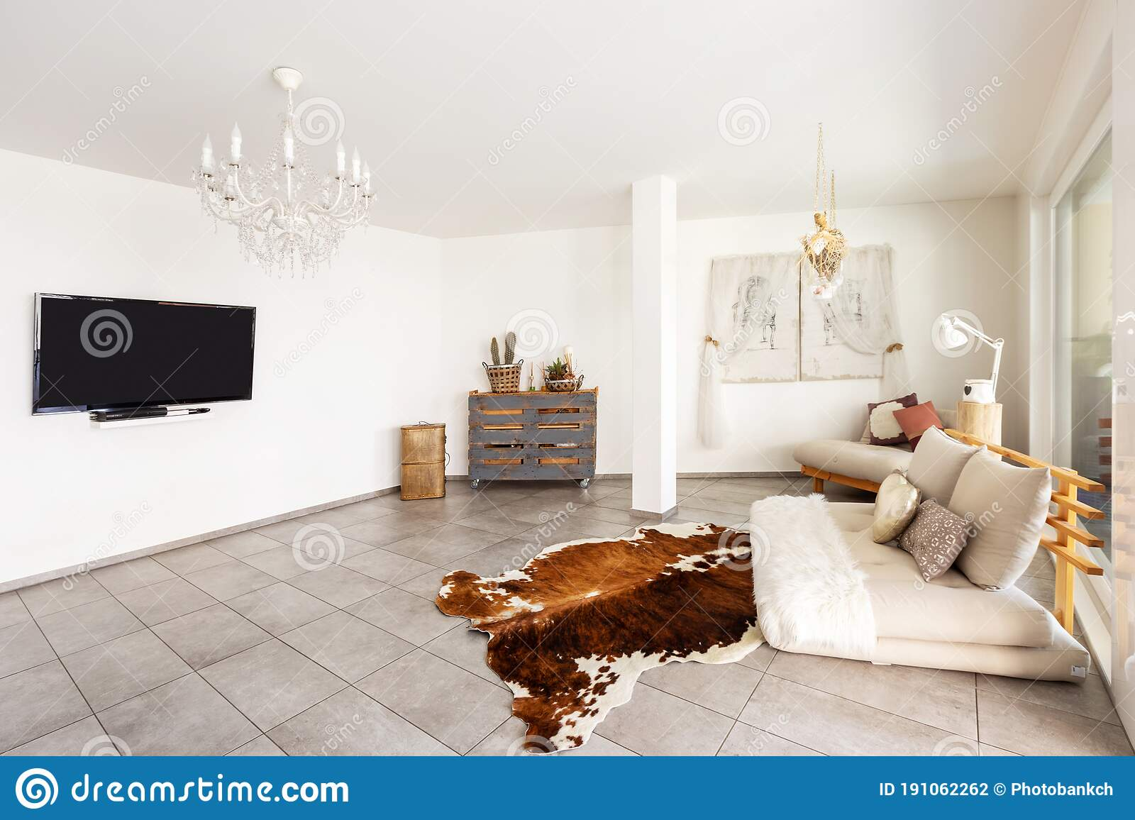 Modern Living Room With Marble Tiles White Walls And Stylish Furnishings Stock Photo Image Of Furniture Glamour 191062262